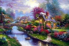[Visit to Buy] New Diy Landscape Diamond Painting Town Bridges Resin Craft Full Round Diamond Picture Embroidery Mosaic Home Decor Thomas Kinkade Art, Kinkade Paintings, Diamond Picture, Cottage Art, Country Landscaping, Cross Stitch Art, Cross Paintings, Pictures To Paint, Anime Comics