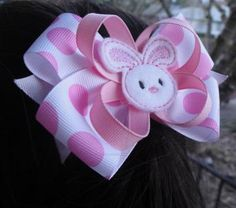 Pink Bunny Hair Clip - Boutique Easter Bow - Bunny Bow by HairRibbonBoutique for $7.50