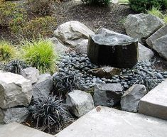Dry Pond Fountain/small and larger stones/natural look | Curb ...
