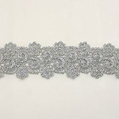 Silver Metallic Rayon Embroidery Lace Trim Flower Floral pattern applique lace - Bridal wedding Lace Trim wedding fabric Millinery accent motif scrapbooking crafts lace for baby headband hair accessories dress bridal accessories by Annielov trim 336 * Learn more by visiting the image link.