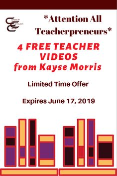 TIME SENSITIVE! Sign up for this free workshop series.  If you are a teacherpreneur it will change your life! This offer ends  June 17, 2019. (Affiliate link)