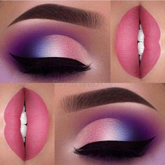 Vibrant At The Corners Triple Shaded Purple Eye Shadow And Pink Lips