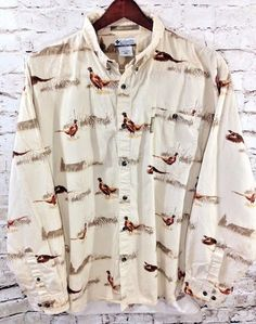 Columbia 'River Lodge' Pheasant Button Front Shirt Size XXL 2XL Hunting Outdoor #Columbia #ButtonFront #Pheasants #Hunting #Novelty #Mens #Outdoor