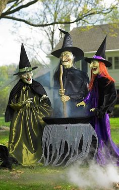 When trick-or-treaters trespass, our Animated Brewing Witch Trio greets them with some very scary sayings and an ominous stir of their cauldron.