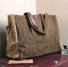 Men/Women's Vintage Canvas Leather tote bag handbag briefcase 522 | Clothing, Shoes & Accessories, Men's Accessories, Backpacks, Bags & Briefcases | eBay!
