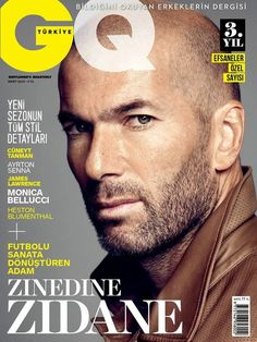 Zinedine Zidane Covers GQ Turkey March 2015 Issue in Brown Leather Jacket..