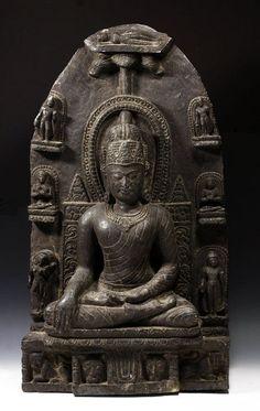 Indian Pala Period Schist Stele of Buddha