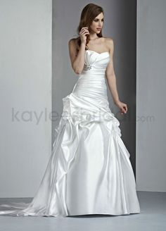 Satin A-Line Strapless Sweetheart Neckline Rouched Bodice Wedding Dress
