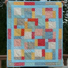 Cluck Cluck Sew ( Dec 2009 ) great colors framing a cute print using the disappearing 9 patch Boy Quilts, Scrappy Quilts, Patchwork Quilting, Quilting Tips, Quilting Projects, Sewing Projects, Sewing Ideas, Cluck Cluck Sew, Disappearing 9 Patch