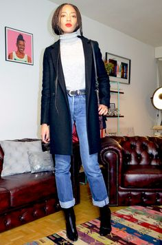 mercredie-blog-mode-fashion-outfit-look-inspiration-501-levis-jean-jeans-high-waisted-mom-boots-zara-trench-and-coat-turtle-neck-grey-wool-jumper-red-lipstick-long-box-braids-kanekalon-afro-protective-hair-style-hairstyle-zoe-kravitz