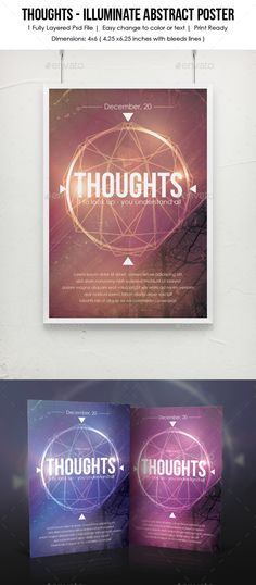 Thoughts  Illuminate Abstract Poster — Photoshop PSD #bright #flyer • Available here → https://graphicriver.net/item/thoughts-illuminate-abstract-poster/9170921?ref=pxcr
