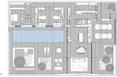 Jesolo Lido Pool Villa Drawings by jm architecture Modern House Plans, Modern House Design, Villa, Plan Drawing, Residential Architecture, Deco, Floor Plans, Layout, Flooring