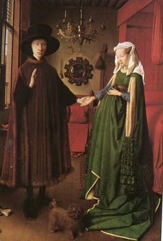 Jan van eyck. Arnolfini marriage 1434?  One of the best things I saw at the National gallery in London.