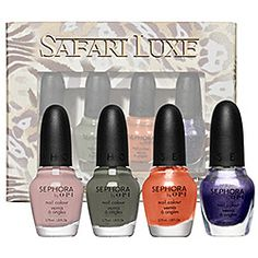 I am pinning this because i like the color palate. Something to go with purple and beige. #dontbeafraidofcolor  SEPHORA by OPI - Safari Luxe Mini Collection  #sephora