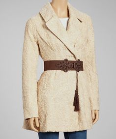 Take a look at this Beige Abstract Textured Trench Coat by Ryu on #zulily today! $85 !!