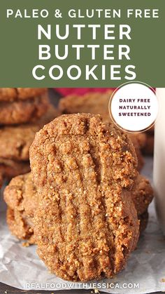 These Paleo Nutter Butter Cookies are a healthy homemade version of the popular store bought cookie. Naturally sweetened and gluten free and dairy free. Best Paleo Recipes, Dairy Free Recipes, Real Food Recipes, Whole 30 Snacks, Paleo Brownies, Nutter Butter Cookies, Healthy Weeknight Dinners, Unprocessed Food, Clean Eating Recipes