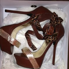 REDUCED!! Brown Leather bebe high heels Chocolate brown leather heels, cross leopard straps gold sequin like foot strap. Worn twice bebe Shoes Heels