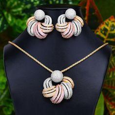 trendy Flower Earrings Pendant Set For Women Accessories Full Cubic Zirconia Earrings Jewelry Pendant Design, Pendant Set, Diamond Pendant, Diamond Jewelry, Gold Jewelry, Diamond Mangalsutra, Vintage Jewellery, Diamond Rings, Antique Jewelry