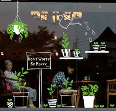 fresh green bontany wall decals flower pot watering shop window wall stickers stick inside show outside glass murals leaf Vinyl living room - Informationen zu fresh green bontany . Cafe Window, Window Mural, Window Stickers, Wall Stickers, Wall Decals, Wall Vinyl, Vinyl Decals, Wall Art, Cafe Interior Design