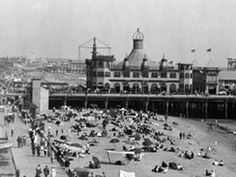 The Looff Hippodrome on the Santa Monica Pier, now the beach is much wider here.