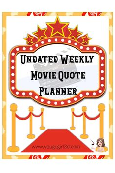 Just in time for the Oscars! An undated, weekly format, 63 page printable planner. Each week has a new movie quote. There is a place for daily activities, movies you have watched, and to do.