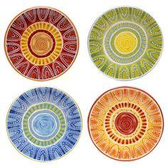 Certified International Hand-painted Tapas 8.75-inch Assorted Salad/ Dessert Plates (Set of 4)