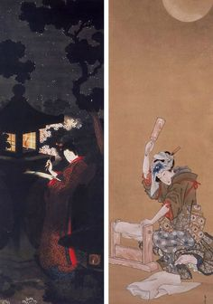 "katsushika oei, ""Cherry Blossom in the Night"" left, ""Beauty Fulling Cloth in the Moonlight"", right. Strange mission, looking for a woman painter whose name meant ""Hey, you!"", who almost never signed her work, was briefly famous, and then disappeared—one hundred and fifty years ago. Another country, another language, another century."