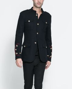 Military Blazer with Pocket Flaps & Sleeves in blue by Zara (Portugal) €100. Outer Shell: 80% Wool, 20% Polyamide. Lining: 100% Polyester. Ref. 0706/369.