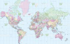 Pink Pastel World Map Wall Mural | World Map Wallpaper