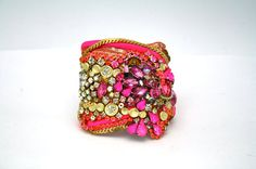 $500 Neon, Gold and Crystal Cuff with Silk and Sequin Detail- Ready to Ship