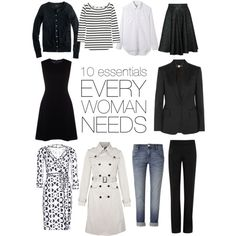 10 wardrobe essentials by whateverywomanneeds, via Polyvore