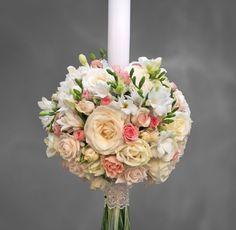 lumanare nunta trandafiri si frezii