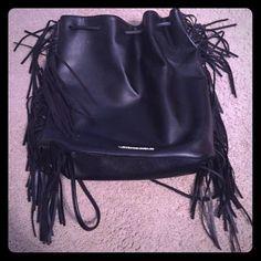 Victoria's Secret black fashion show bag NEW Victoria's Secret black fashion show bag back pack 2015. Fringe. Faux leather. Super cute and trendy! NEW never used. Victoria's Secret Bags Backpacks
