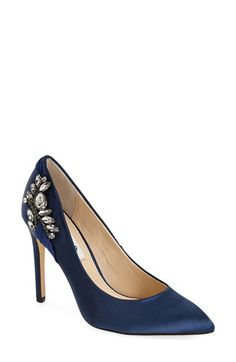 Free shipping and returns on Nina Originals Nina 'Rhonae' Pump (Women) at Nordstrom.com. A sleek pointy-toe pump with a slim heel is fashioned from smooth satin and features a floral jewel appliqué.