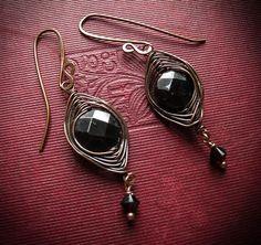 Goddess Eye Earrings in Garnet and Copper