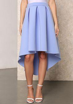 Blue Box Pleat Hi-Lo Skirt