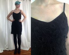 Vintage 1990's textured swirly print little black dress by trashedbytime, $25.00