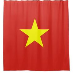 Vietnam flag shower curtain - shower curtains home decor custom idea personalize bathroom