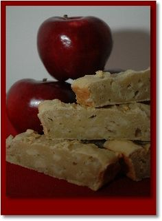 Home Made Apple Bar Dog Treats. 1 apple, 2 Cups All purpose flour, 2 Large Eggs, 1 Tablespoon Baking Powder, 1/2 Cups Canola Oil, 1 Tablespoon Vanilla Extract, 1 Small jar pear baby food, 2 Tablespoons honey.