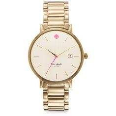 Kate Spade New York Gramercy Grand Mother-Of-Pearl & Goldtone... ($225) ❤ liked on Polyvore featuring jewelry, watches, accessories, bracelets, kate spade, apparel & accessories, gold, stainless steel jewelry, gold tone bracelet watch and kate spade jewelry