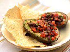 Grilled Avocado Stuffed with Black Bean Salsa recipe from The Kitchen via Food Network