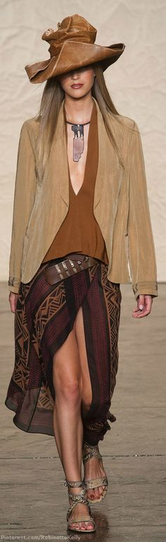 Donna Karan | S/S 2014 V Great Old Western Fashion outfit and complete with jewelry                               http://buyjewelrydeals.com