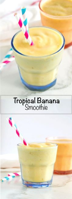 Easy Tropical Banana Smoothie with Chia Seeds | nourishedtheblog.com | A nutritious Easy Tropical Banana Smoothie recipe made with banana, pineapple, mango and chia seeds blended together with tropical juice. A light, cold and refreshing breakfast or snack. Click through for this smoothie recipe!