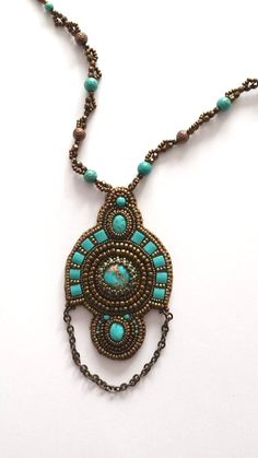 Bead embroidery turquoise necklacewith tila beads