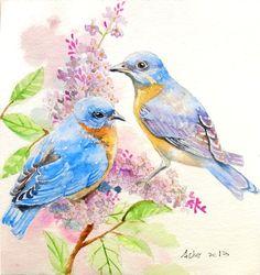 Original Blue Bird Watercolor 6 x 6 Bird IllustrationLove by asho,