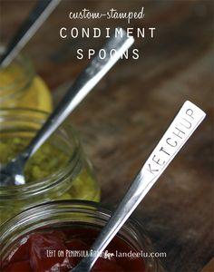 Custom-Stamped Condiment Spoons  DIY Tutorial |  So cute for BBQ parties!  landeelu.com