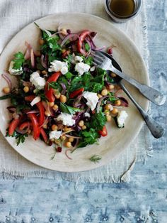 Australian Gourmet Traveller recipe for Persian-style chickpea salad. Casseroles, Great Recipes, Favorite Recipes, Salad Recipes, Healthy Recipes, Vegetarian Recipes, Feta Salat, Eastern Cuisine, Chickpea Salad