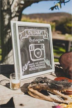 Oh snap with Instagram wedding hashtag for guests to add pictures