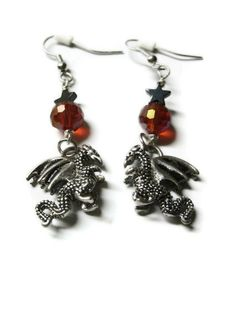 Dragon Charm Earrings, Red and Black Star Bead Accents, Silver Plated French Hooks #dragon #earrings #jewelry #reptile #silver #fantasy #myth #creature #animal $10.00