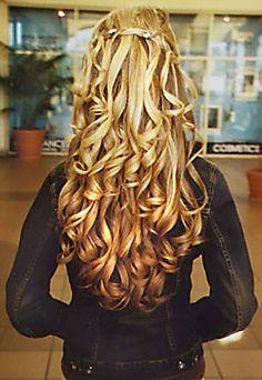 all curls half up highlights long layers hair cut